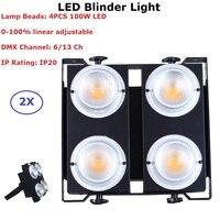 2XLot Newest 4 Eyes 4X100W Warm White Cold White 2IN1 LED Audience Blinder DMX COB Par Lights 90 240V For Dj Disco KTVS