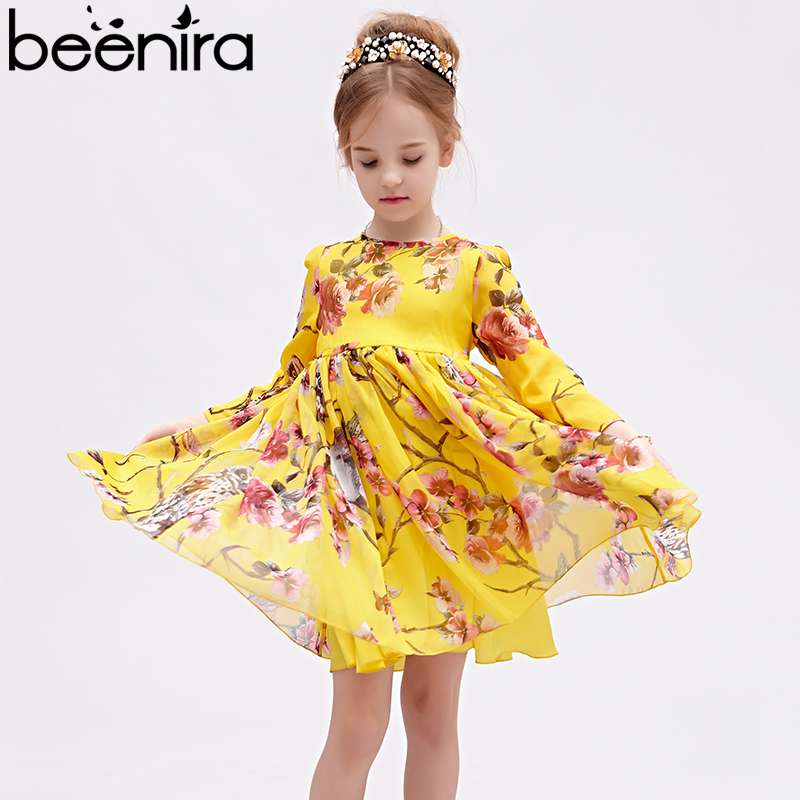 Beenira Girls Clothes Dress 2018 European And American Style Children Full Sleeve Floral Vacation Princess Dress 4-14Y Clothes w l monsoon european and american girls dress new children s wear princess dress rose floral sleeveless vest dress