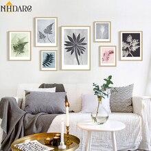 Póster de lienzo con estampado de hojas de planta de moda moderna de estilo nórdico con imagen artística para pared para sala de estar decoración del hogar