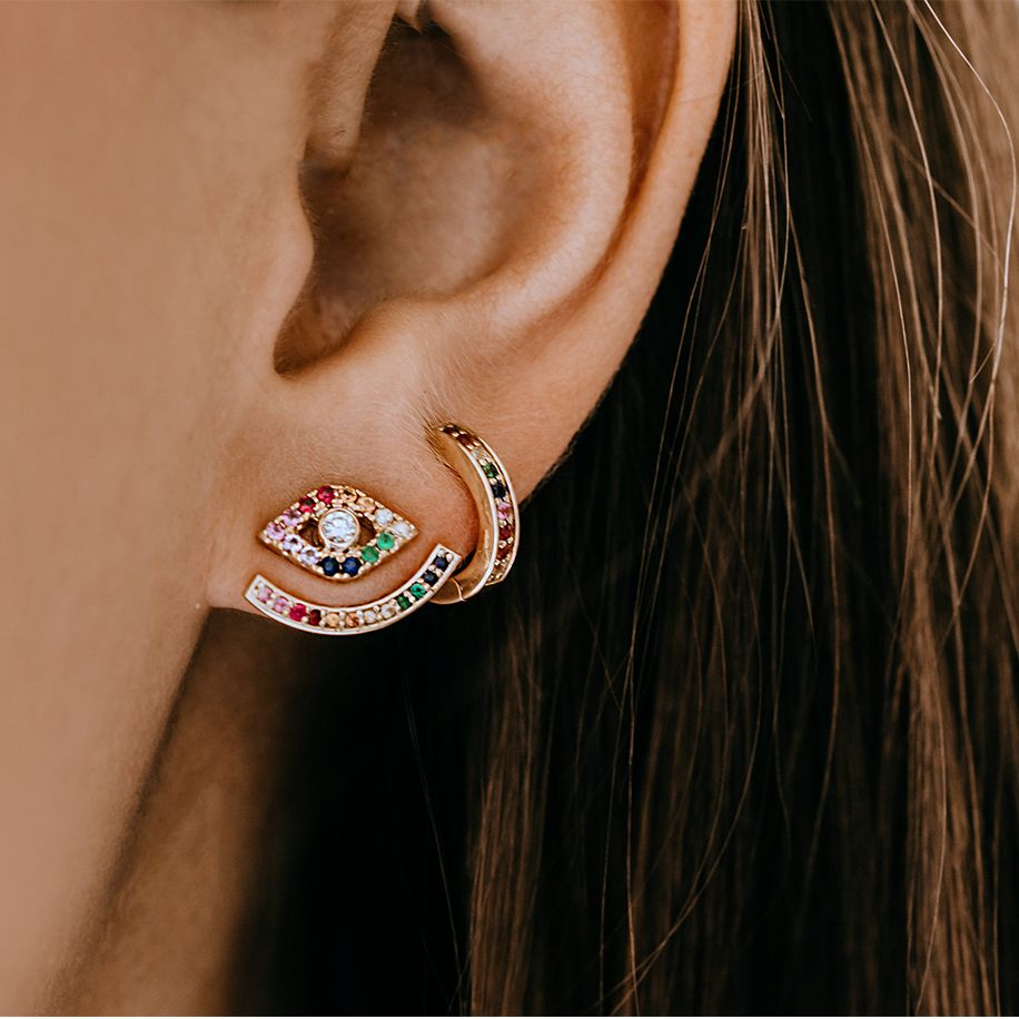 Rainbow Gold Color Earring Double Sided Stud With Evil Eye