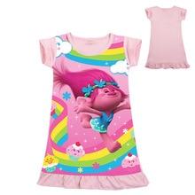 Lovely Trolls Dress for Kids Girls Summer Cartoon Straight Dresses Children Night Gown Toddler Bath Robe Baby Girl Nightwear