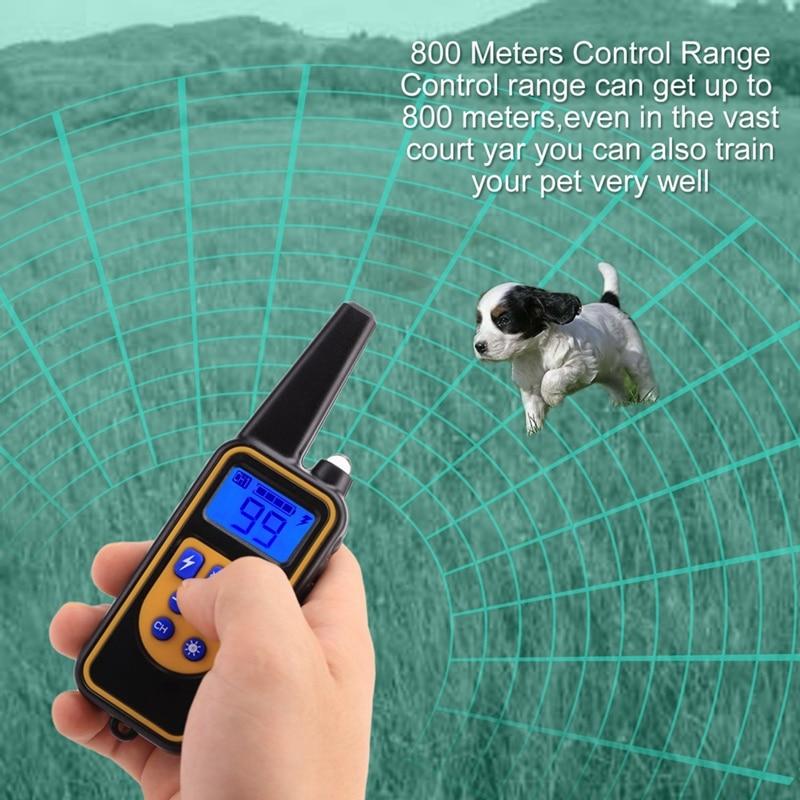 Anti aboiement avec 800 mètres à distance LED collier d'affichage collier de dressage de chien Rechargeable pour chien entraîneur de contrôle extérieur