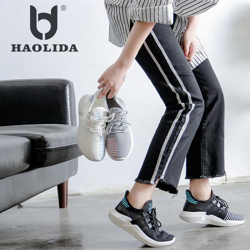 Fashion 2018 Casual Shoes Woman Summer Comfortable Breathable Mesh Flats Female Platform Women's Sneakers White Platform Shoes цены онлайн
