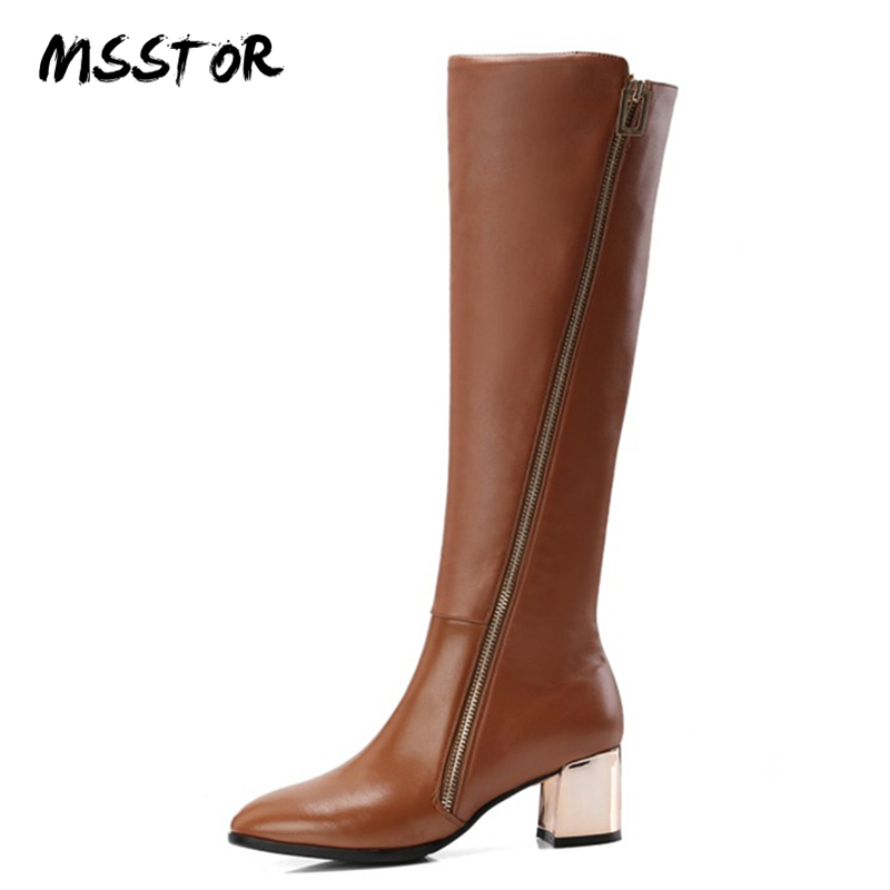 MSSTOR Zipper High Heel Boots Sexy Party Brown Thick Heels Short Plush Autumn Winter Knee High Boots Square Toe Boots Women 2018 women ankle boots pu leather short plush 7cm high thick block heel square toe white zipper winter black casual office lady boots