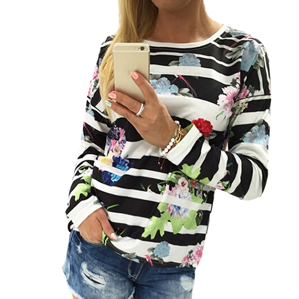 2017 Femmes Automne Hiver Coton À Manches Longues Sweat Pull Blous Mode  Floral Casual Outwear Hoodies Chemises Ropa Mujer 9cc68e3940d9
