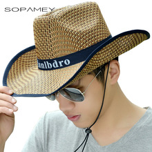 2017 Summer Men's Straw Sun Cap Fedora Trilby Big Along The Fishing Hat Beach Cap Sombrero Outdoor Travel Shade Sunscreen Hat