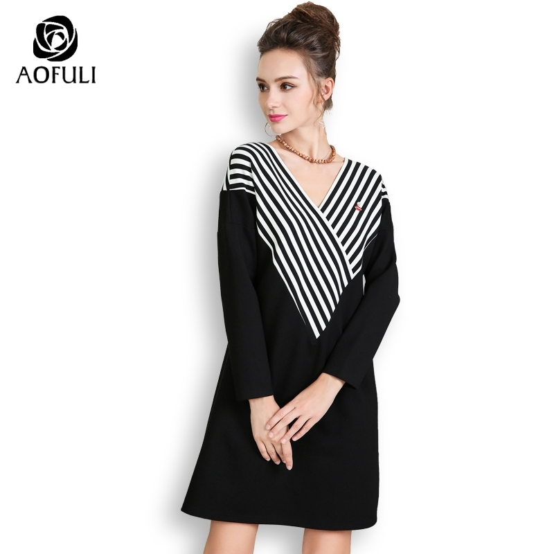 AOFULI Black White Stripe Print Dresses Plus Size Women Short Dress V neck Batwing Sleeve Casual