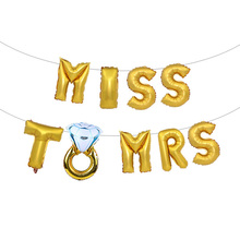 16Inch Wedding Bridal Shower Letter Foil Balloons Gold Silver Rose Bride To Be Diamond Ring Balloon Party Favors Decoration