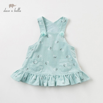DBJ11570-2 dave bella autumn infant baby girls floral print strap dress lolita party suspenders dress toddler children clothes image