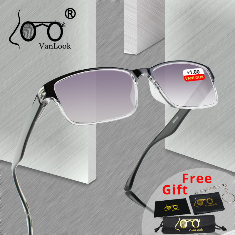 <font><b>Men</b></font> <font><b>Reading</b></font> <font><b>Glasses</b></font> For Sight Gradient Grey Lens Anti UV400 <font><b>Glass</b></font> Spectacles Gafas Lectura Retro +1 +1.25 +1.75 2 <font><b>2.25</b></font> 2.75 3.25 image