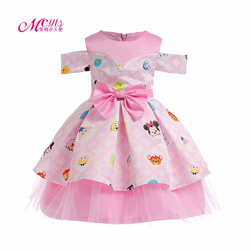 2018 Summer Girl Dress Cartoon Print Kids Dresses For Girls Party Princess Girl Clothes With Bow Dress For 4 5 6 7 8 9 10 Years summer 2017 new girl dress baby princess dresses flower girls dresses for party and wedding kids children clothing 4 6 8 10 year