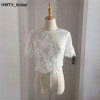 Hot Sale Short Sleeves High Quality Lace Wedding Dresses Accessories Bridal Jackets Custom Made Women Wraps Shrug Shawl Bolero