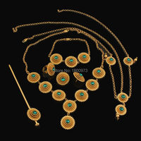 Romantic Ethiopian 6pcs Jewelry Sets Fashion Jewelry Gold Filled Colorful Stone African Wedding Jewelry sets Free Shipping