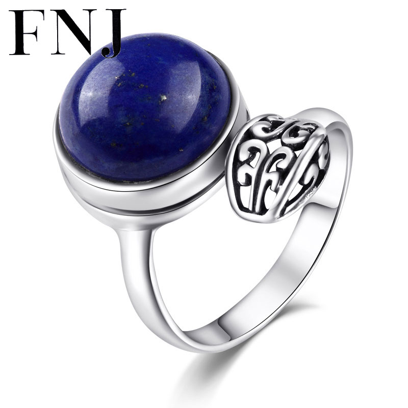 FNJ Bohemia 100% Pure 925 Sterling Silver Lapis Lazuli Rings for Women Jewelry Blue Stone S925 Thai Silver Ring Lady Wedding