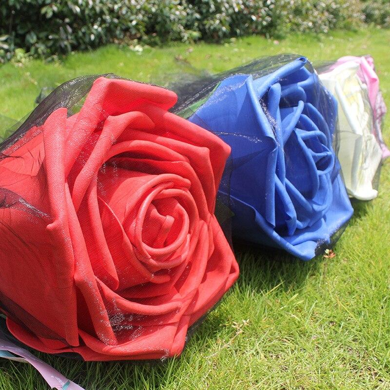 Grande mousse Roses avec tiges géant fleur tête cadeau d'anniversaire saint valentin présent mariage toile de fond décor fête fournitures