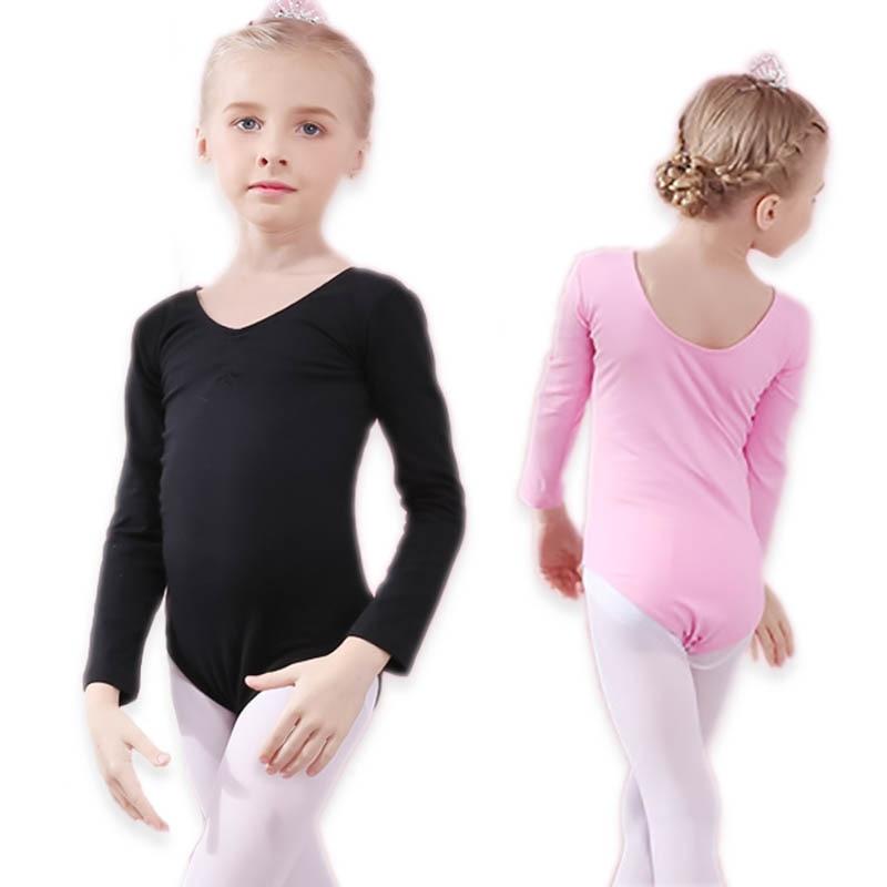 Children's Ballet Warmup Dance Costumes Long Sleeve Body Suit Leica Cotton Open Crotch Gymnastics Suit For Girls Dance Clothes