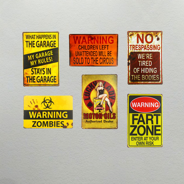 DL Vintage warning board motor oil Metal Poster Bar Pub Tavern Wall ...