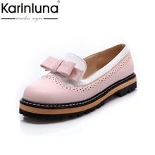 Karinluna/большой Размеры 34–43 Демисезонный слипоны женская обувь на плоской подошве с милым бантиком кружева с открытым носком женская обувь на платформе