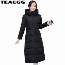 TEAEGG Long Cotton Padded Winter Jacket Women 2017 Hood Black Warm Woman Winter Coats And Jackets Parka Femme Clothing AL313