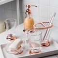 Роскошный прозрачный набор для ванной комнаты из розового золота  комплект принадлежностей для ванной и зубной щетки