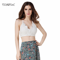 Women Sexy Summer Crop Top Lace Bandage Camisole Black White Sleeveless Backless Deep V Neck Beach