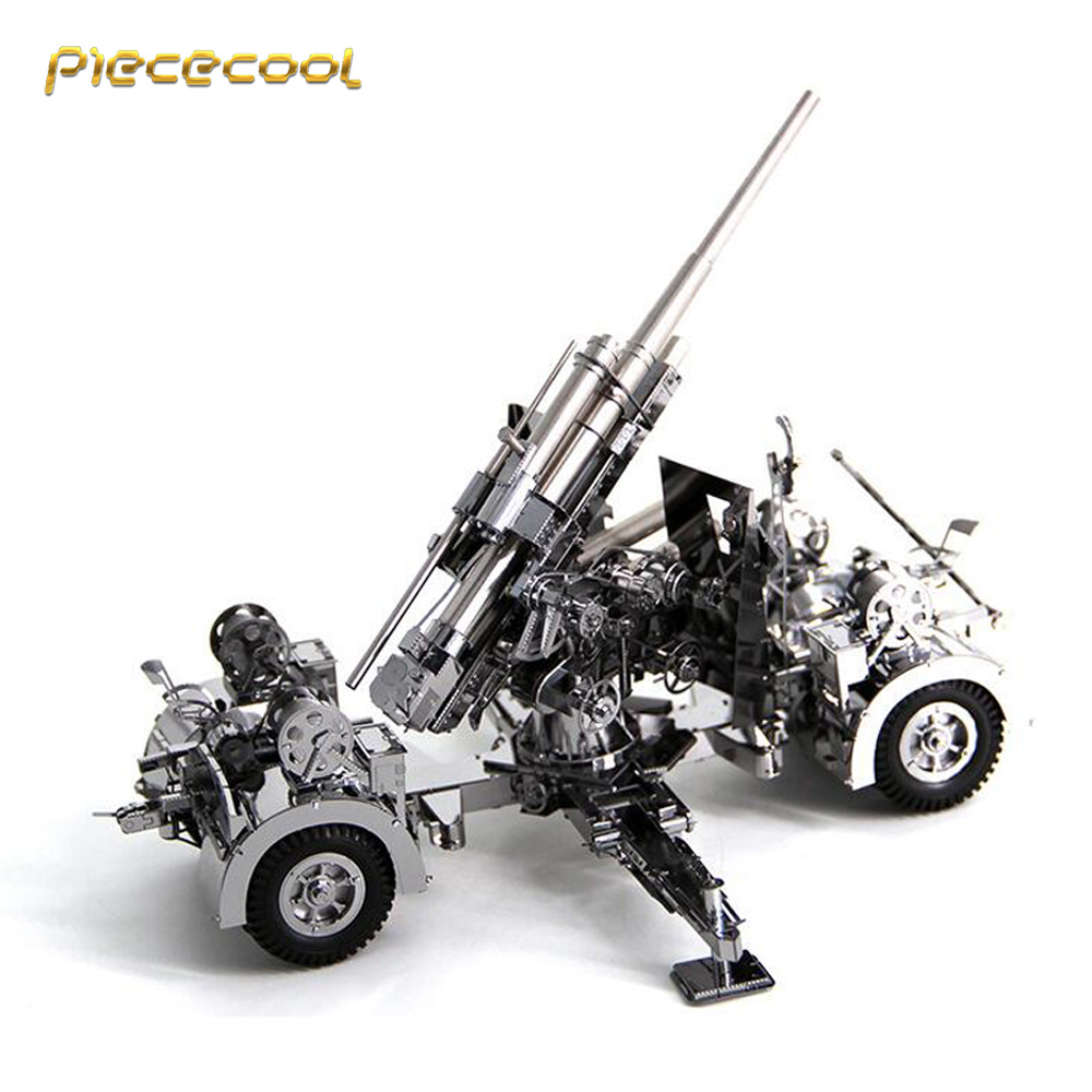 Piececool 3D Metal Nano Puzzle Geschtze 88mm Flak Building Model Kits DIY 3D Laser Cut Assemble Jigsaw Toys airplane 3d jigsaw laser cutting model puzzle educational diy toy