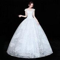 It's YiiYa Wedding Dress Appliques Beading Bridal's Gowns O neck Princess Bridal Ball Gown White Long wedding dress XXN225