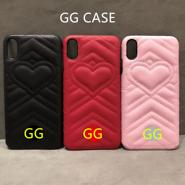 GG Heart Luxury Phone Case For IPhone 7 8 6 6S Plus XS MAX XR X Case Cover Laether Cases For Samsung S8 S9 Plus N8 N9 Case