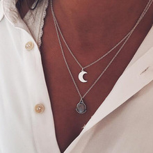 2019 Silver Crystal Water Drop Moon Pendant Necklace Fashion Classic Chain Jewelry Accessary