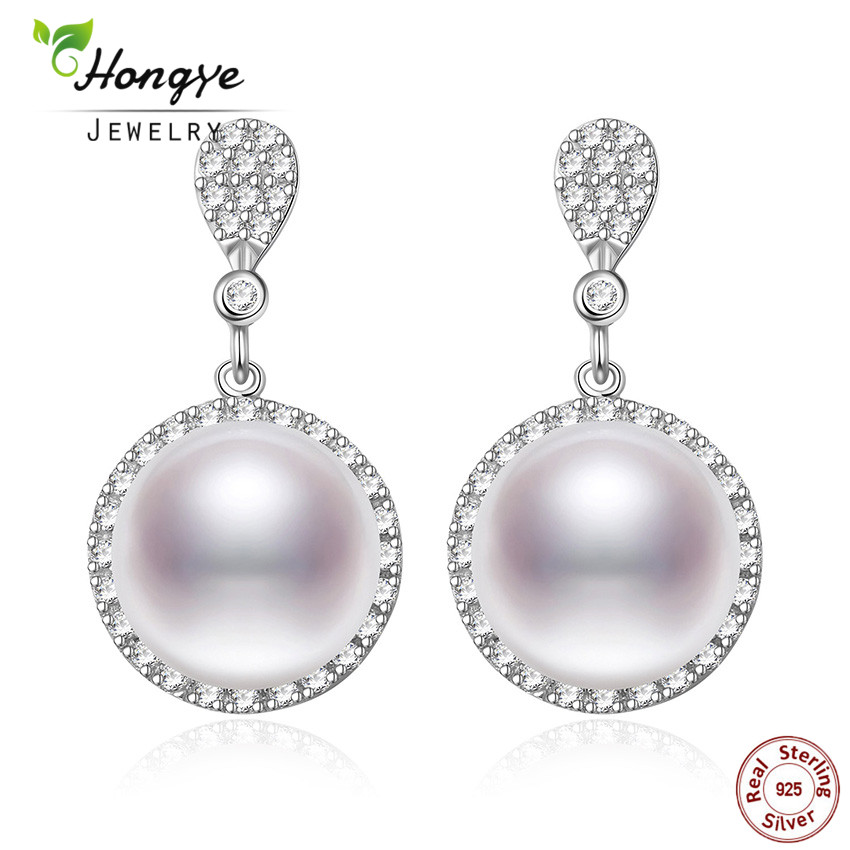 Hongye 2018 Luxury 925 Sterling Silver 10mm Big Natural Freshwater Pearl Jewelry Drop Earrings Simple Round Pearl For Women