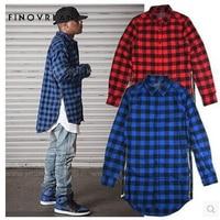 Men Flannel Plaid Shirt 100 Cotton 2018 Spring Autumn Hip Hop Long Sleeve Shirt Soft Comfort