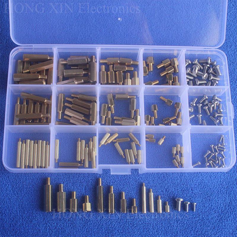 180Pcs/Set M2/M3/M4 Male Female Brass Standoff Spacer Board Hex Pan Head Screws Nut Assortment standoff Set Box
