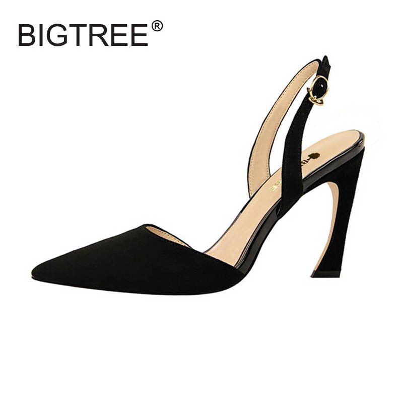 Sexy Pointed Toe Women High Heels Slingbacks Shoes Elegant Flock Pumps For Women Ladies Casual Evening Party Shoes Size 34-40