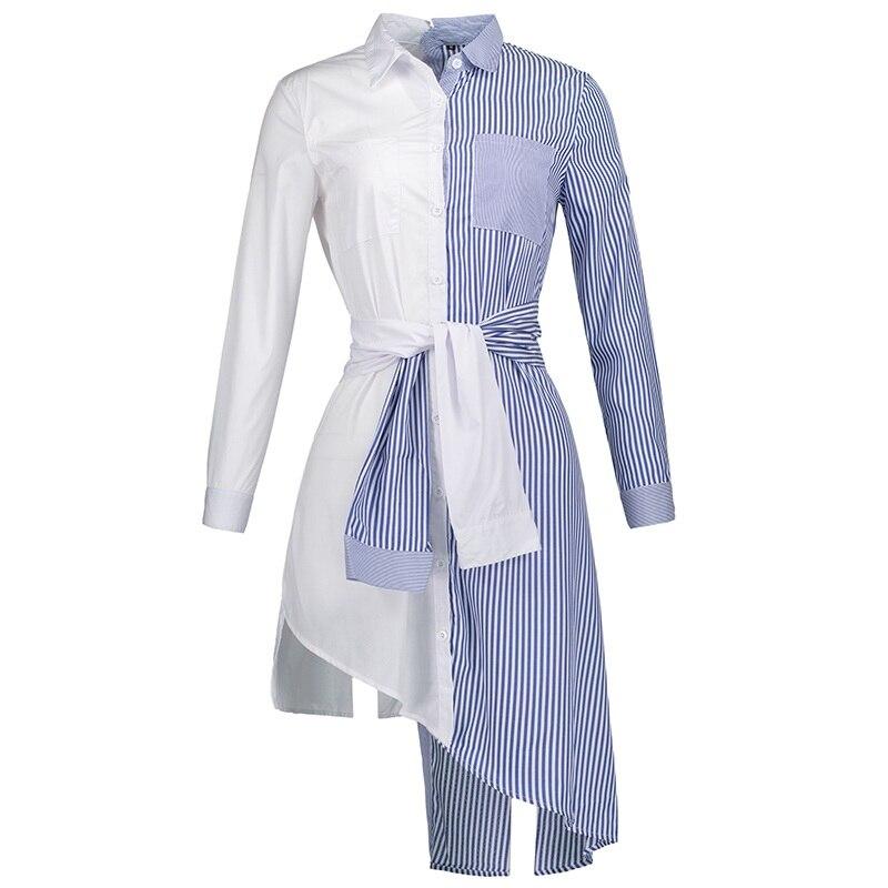 Young17 Autumn Blue Blouse Lapel Stripe Fashion High Street Patchwork Christmas Long Work Plain Clothing Fall Tops Women Shirt