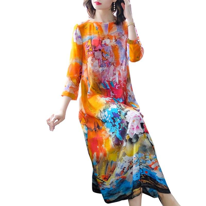 European And American Fashion Print Female Dress 2019 Summer Imitate Real Silk Dress Loose Temperament Round Collar Lady Dresses