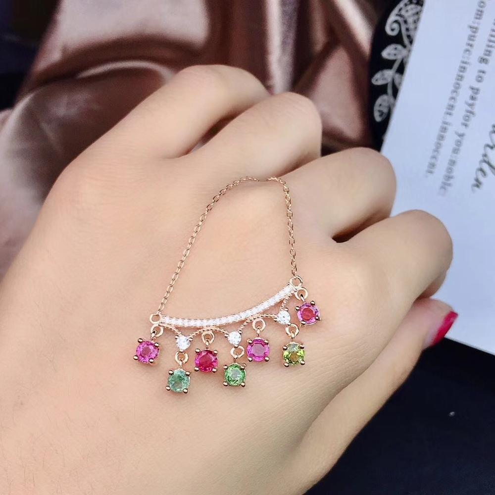 Beautiful multi-color natural tourmaline, each color is candy color, 925 silver necklace