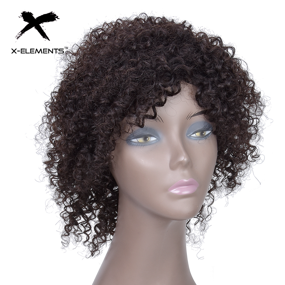 X-Elements Hair Brazilian Jerry Curly Wig 100% Human Hair Non Lace Wig Non-Remy 8 Short Human Hair Machine Made Wigs For Women (9)