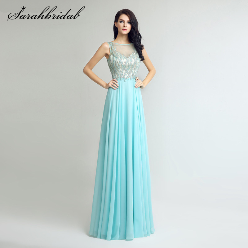Sparkle ever pretty   prom     Dresses   with Sexy Back Bateau jewel Floor Length and High Quality Chiffon Crystal Gown LSX273