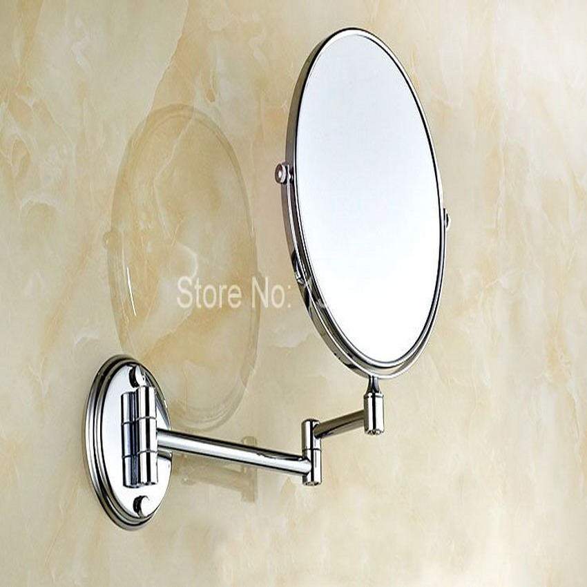 Hotel Bathroom Accessory Polished Chrome Brass 8 Wall Mount Swing Arm 2 Sided Magnifying