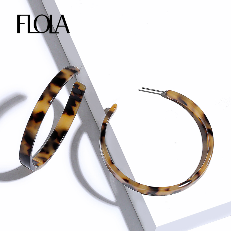 Women Acrylic Circle Hoop Earrings Geometric Leopard Print Jewelry Drop Earr~PL