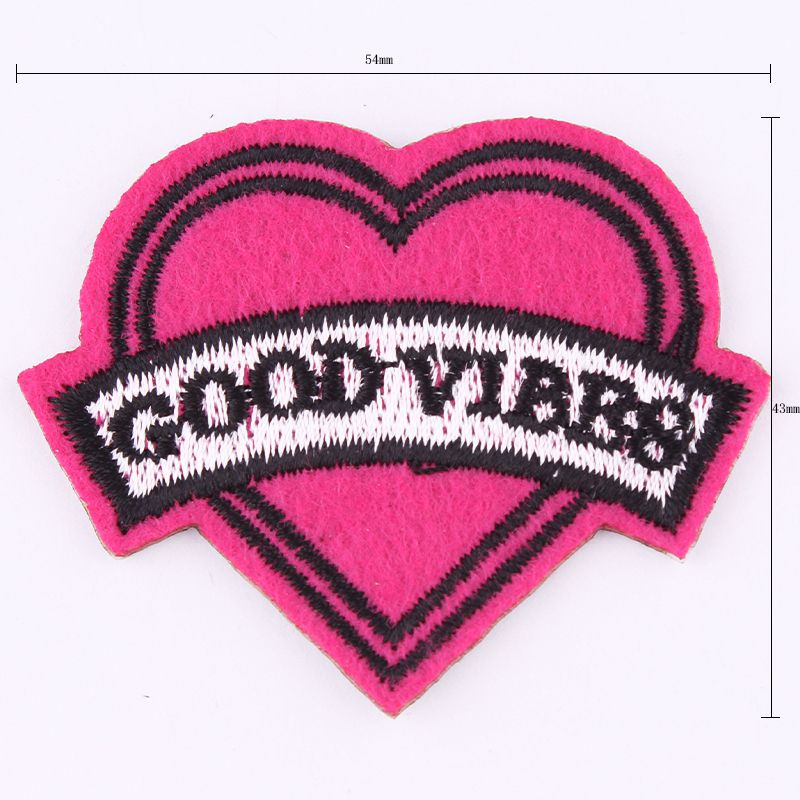 Hot Sale 1PCS 43*54mm Patches Cartoon Heart Embroidered Iron On Patch For Clothing Jacket ...