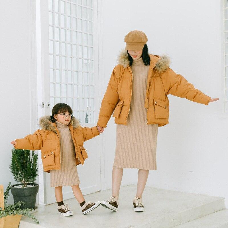 Famille correspondant tenues vers le bas manteau 2019 hiver maman et moi mère fille vêtements Outwear pour garçons filles Bebes maman fils tenues
