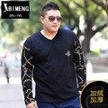 Осень и зима мода размер Мужская рубашка с длинными рукавами плюс удобрения увеличение жира жира и кашемира моды напечатаны футболки