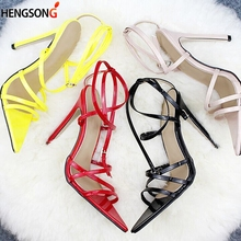 Super High 11 5CM Thin Heels Women Pumps Ankle Cross Strap Sandals Shoes Woman Ladies Pointed Toe High Heels Dress Party Shoes cheap Super High (8cm-up) Buckle Rubber cross bandage sandals Summer Buckle Strap hengsong Sexy Fits true to size take your normal size