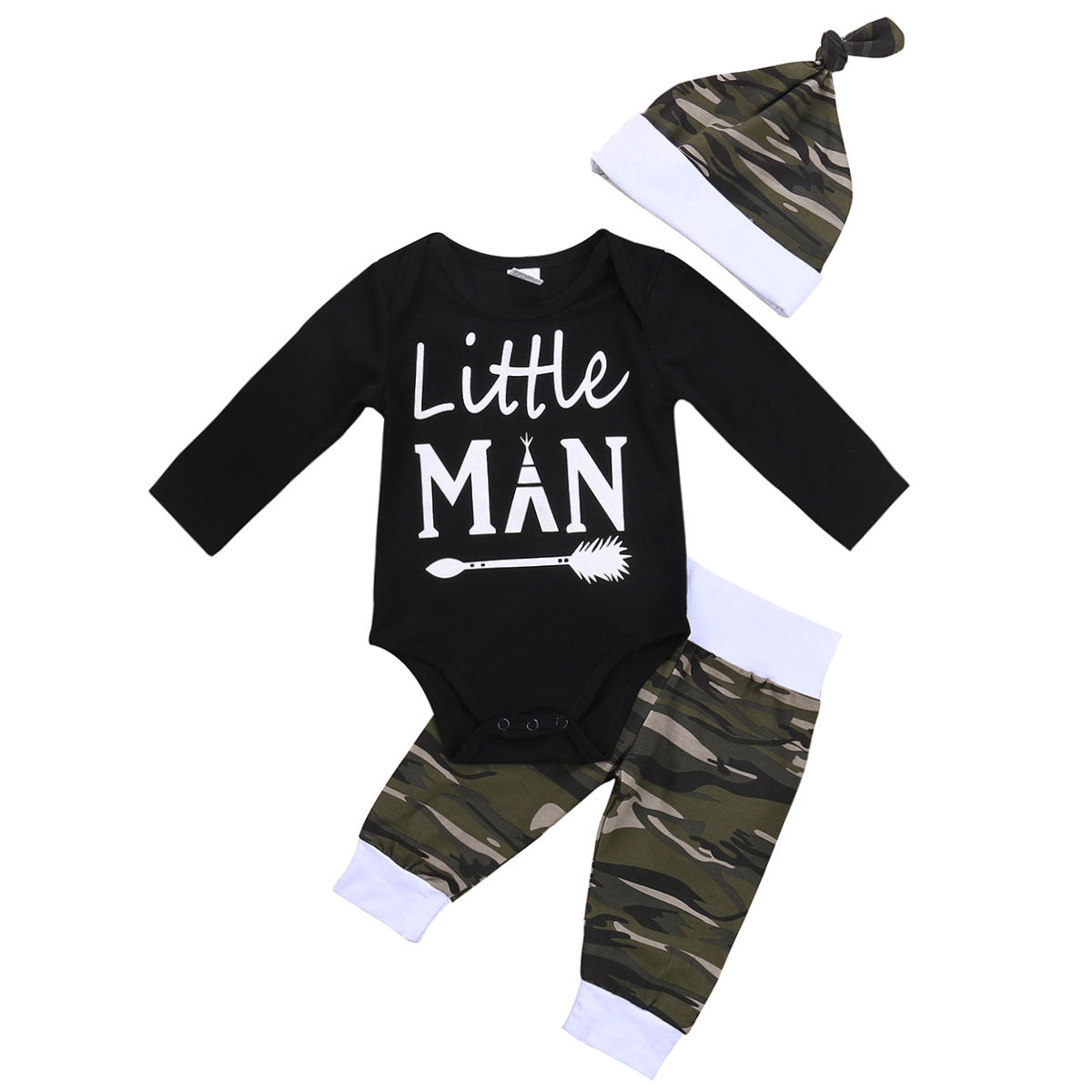 Pudcoco 3Pcs Newborn Toddler Baby Boys Cotton Long Sleeve O-Neck Bodysuit Camo Pants Hat Outfits Set 0-18 Months Helen115