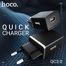 hoco wall charger usb a port eu plug quick charging adapter wall outlet for iphone samsung xiaomi ipad support for qc 3.0 все цены