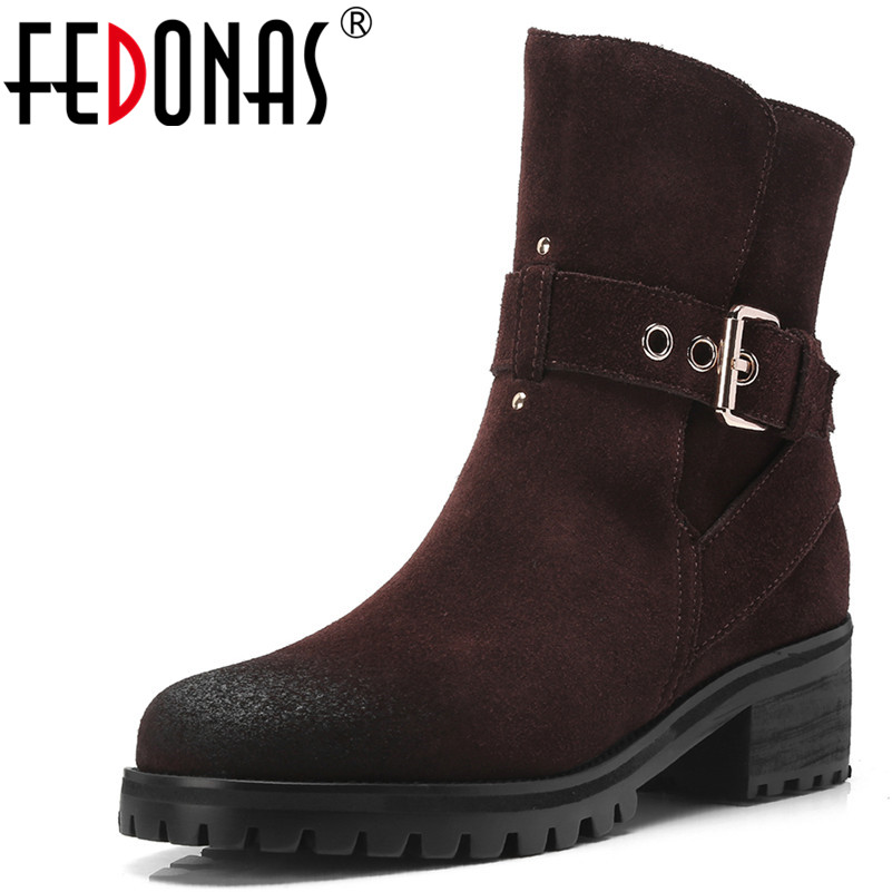 FEDONAS1Fashion Women Ankle Boots Cow Suede Autumn Winter Warm Motorcycle Boots Buckle Round Toe Square Heels Shoes Woman Pumps enmayla autumn winter chelsea ankle boots for women faux suede square toe high heels shoes woman chunky heels boots khaki black
