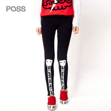 PASS 2017 New Arrival Woman Thin Legging Printed Letter Pencil Pant Fashion Pattern Pants Casual