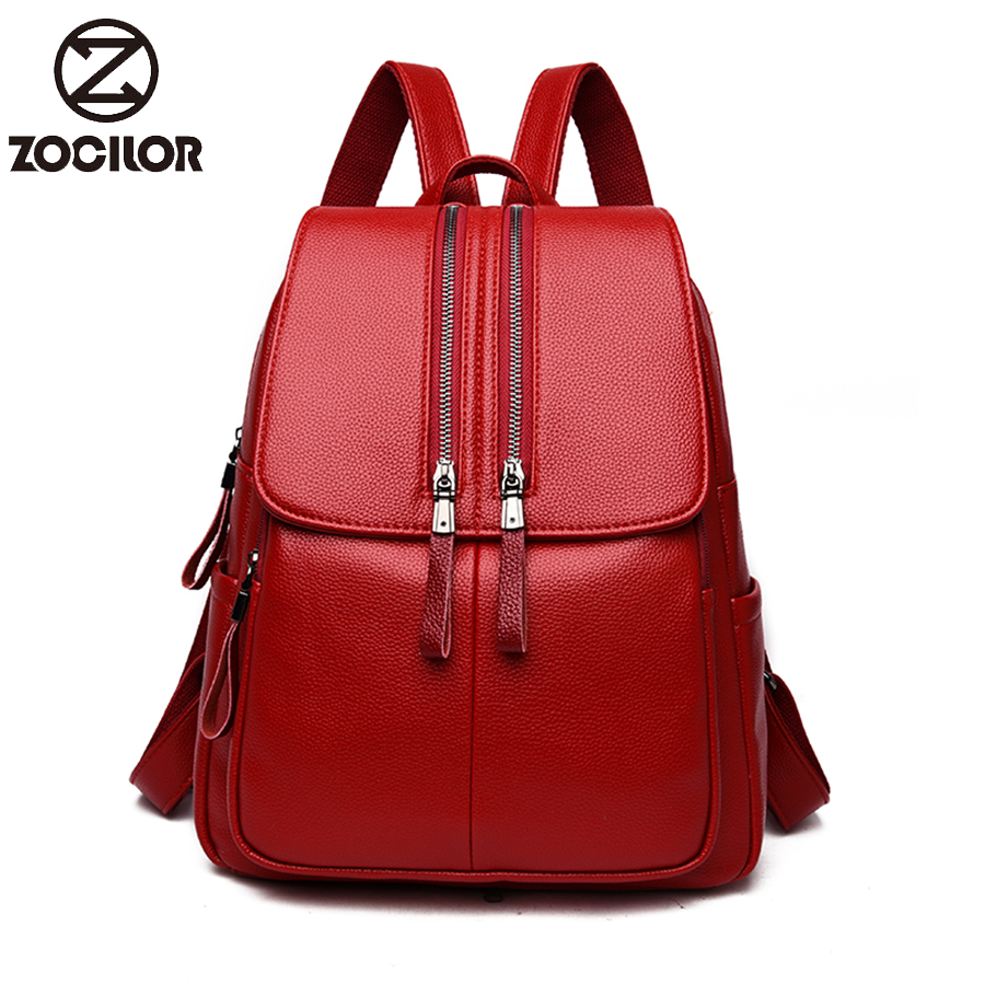 HOT Double Zipper Soft Leather Women Backpack Large Capacity School Bag For Girl Brand Shoulder Bag  Lady Bag Travel Backpack