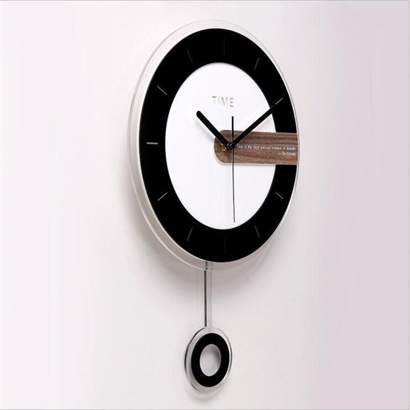 Deux-pièces horloge murale Design moderne ronde acrylique aiguille pour décoration de la maison nordique Wagtail horloge murale montre simple Face - 2